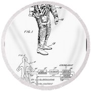1967 Nasa Astronaut Ventilated Space Suit Patent Art 3 Round Beach Towel