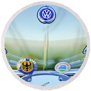 1967 Volkswagen Vw Karmann Ghia Hood Emblem Round Beach Towel