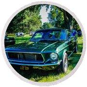 1968 Bullitt Mustang Round Beach Towel