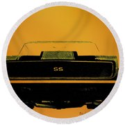 1968 Camaro Ss Head On Round Beach Towel