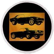 1968 Camaro Ss Side View Round Beach Towel