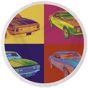 1968 Chevrolet Camaro 327 Muscle Car Pop Art Round Beach Towel
