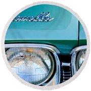 1968 Chevrolet Chevelle Headlight Round Beach Towel