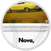 1968 Chevy Nova - The Great Equalizer Round Beach Towel