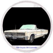 1968 Chrysler 300 Convertible Round Beach Towel