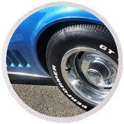 1968 Corvette Sting Ray - Blue - Side - 8923 Round Beach Towel