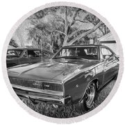 1968 Dodge Charger The Bullit Car Bw Round Beach Towel
