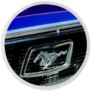 1968 Ford Mustang Cobra Gt 350 Grille Emblem Round Beach Towel