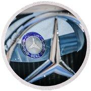 1968 Mercedes-benz 280 Sl Roadster Emblem -0919c Round Beach Towel