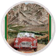 Mountain Rallying In A 1968 M G B  Round Beach Towel
