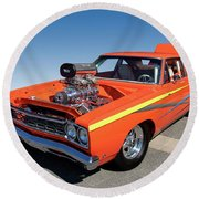 1968 Plymouth Road Runner Round Beach Towel