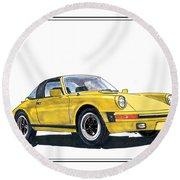 1968 Porsche Targa Round Beach Towel