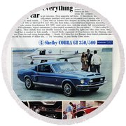 1968 Shelby Cobra Gt 350/500 Ford Mustang Round Beach Towel