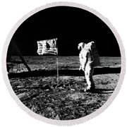 1969 Astronaut Us Flag And Leg Of Lunar Round Beach Towel by Vintage Images