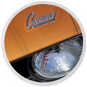 1969 Chevrolet Camaro Headlight Emblem Round Beach Towel