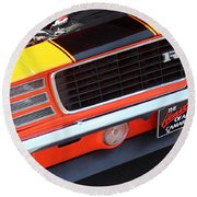 1969 Chevrolet Camaro Rs - Orange - Front End 7550 Round Beach Towel