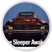 1969 Chevy Nova Ss - The Sleeper Awakes Round Beach Towel