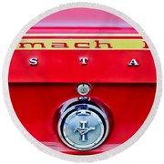 1969 Ford Mustang Mach 1 Rear Emblems Round Beach Towel