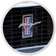 1969 Mustang Mach 1 Grille Emblem Round Beach Towel