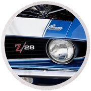 1969 Z28 Camaro Real Muscle Car Round Beach Towel