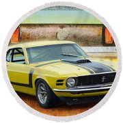 1970 Boss 302 Mustang Round Beach Towel