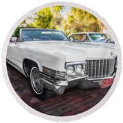 1970 Cadillac Coupe Deville Convertible Painted  Round Beach Towel