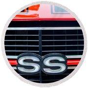 1970 Chevrolet Chevelle Ss 454 Grille Emblem Round Beach Towel by Jill Reger