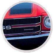 1970 Chevrolet El Camino Ss Grille Emblem Round Beach Towel