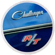 1970 Dodge Challenger Rt Convertible Emblem Round Beach Towel by Jill Reger