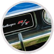 1970 Dodge Challenger Rt Convertible Grille Emblem Round Beach Towel by Jill Reger