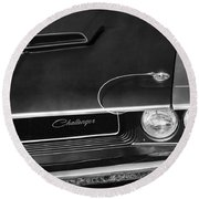 1970 Dodge Challenger T/a In Black And White Round Beach Towel