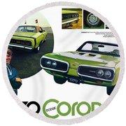 1970 Dodge Coronet R/t Round Beach Towel