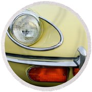 1970 Jaguar Xk Type-e Headlight Round Beach Towel