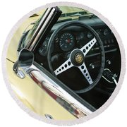 1970 Jaguar Xk Type-e Steering Wheel Round Beach Towel