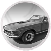 1970 Mach 1 Mustang 351 Cleveland In Black And White Round Beach Towel