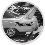 1970 Plymouth Road Runner Hemi Super Bird Bw Round Beach Towel