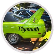 1970 Plymouth Road Runner Hemi Super Bird  Round Beach Towel