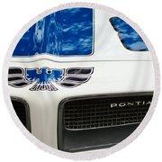 1970 Pontiac Firebird Grille Emblem Round Beach Towel by Jill Reger