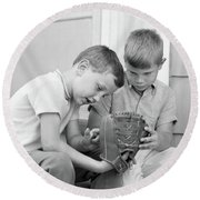 1970s Two Boys Seriously Inspecting New Round Beach Towel
