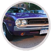 1971 Challenger Front And Side View Round Beach Towel