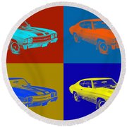1971 Chevrolet Chevelle Ss Pop Art Round Beach Towel