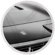 1971 Ferrari 365 Gtc-4 Grille Emblem -1541bw Round Beach Towel
