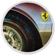 1971 Ferrari Dino Gt Wheel Emblem -027c Round Beach Towel
