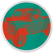 1971 Land Rover Pick Up Truck Modern Art Round Beach Towel