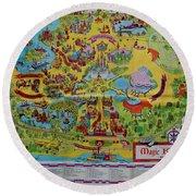 1971 Original Map Of The Magic Kingdom Round Beach Towel