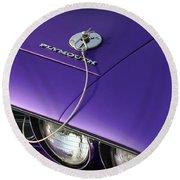 1971 Plum Crazy Purple Plymouth 'cuda 440 Round Beach Towel by Gordon Dean II
