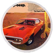 1971 Plymouth Road Runner Round Beach Towel