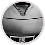 1972 Alfa Romeo Montreal Hood - Grille Emblem -0172bw Round Beach Towel
