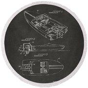 1972 Chris Craft Boat Patent Artwork - Gray Round Beach Towel