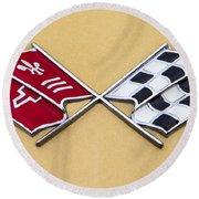 1972 Corvette Crossed Flags Round Beach Towel
